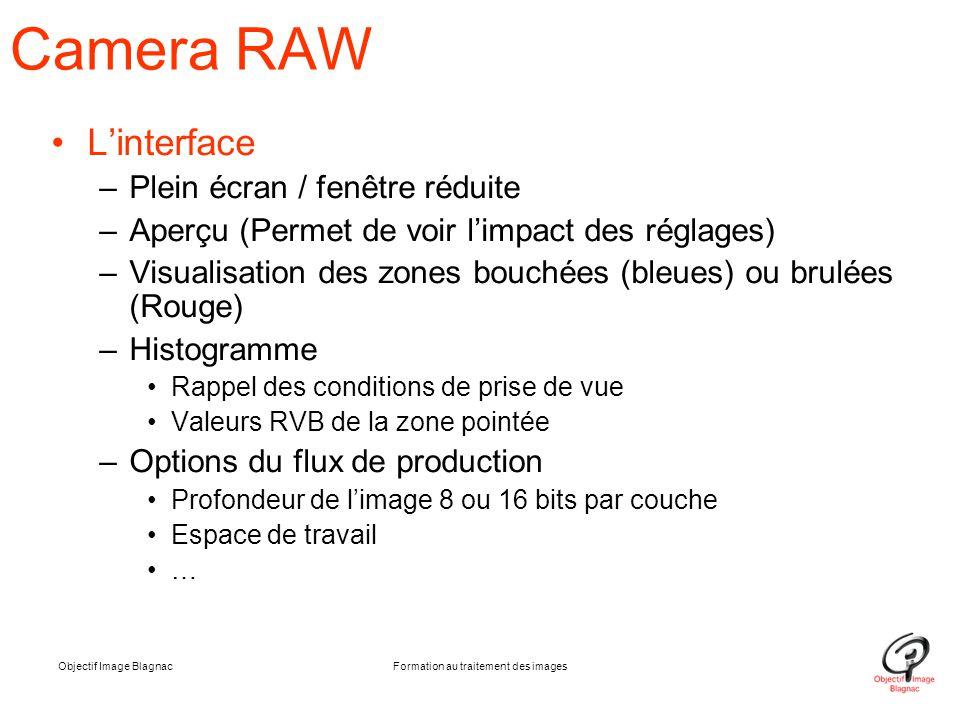 Objectif Image BlagnacFormation au traitement des images Camera RAW L'interface –Plein écran / fenêtre réduite –Aperçu (Permet de voir l'impact des ré