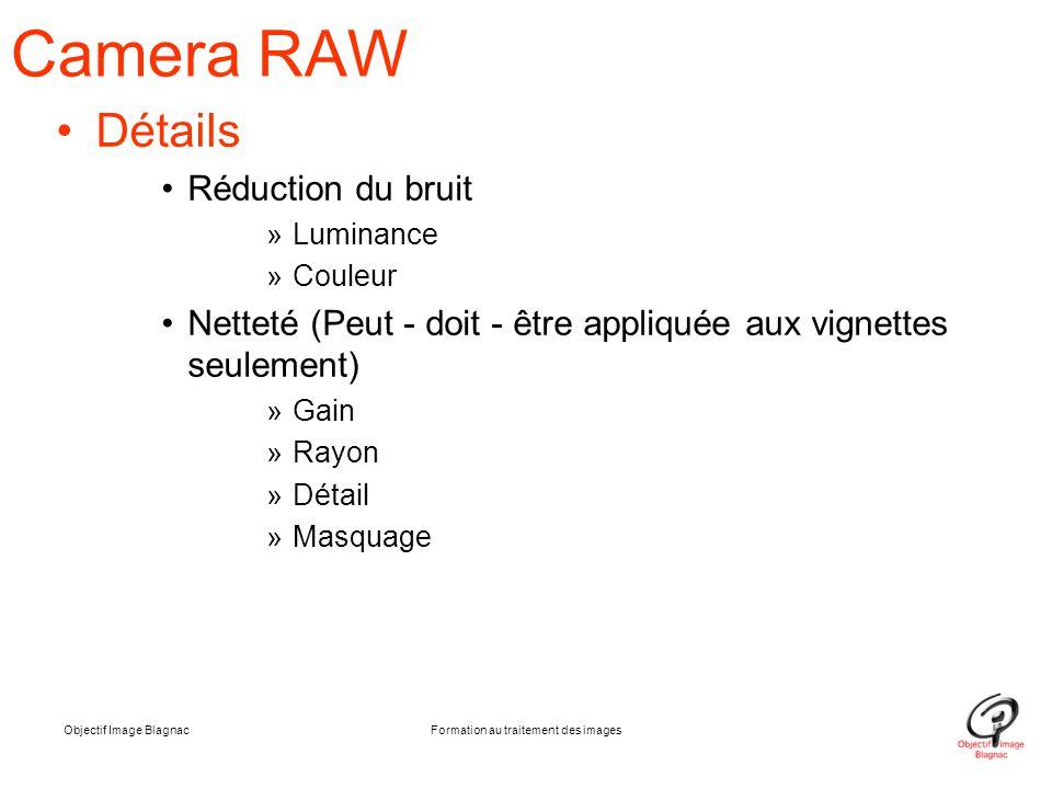 Objectif Image BlagnacFormation au traitement des images Camera RAW Détails Réduction du bruit »Luminance »Couleur Netteté (Peut - doit - être appliqu
