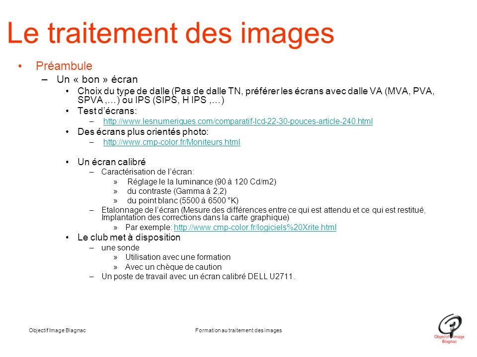 Objectif Image BlagnacFormation au traitement des images Le traitement des images Préambule –Un « bon » écran Choix du type de dalle (Pas de dalle TN,