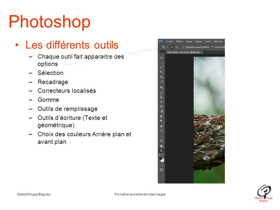 Objectif Image BlagnacFormation au traitement des images Photoshop Les différents outils –Chaque outil fait apparaitre des options –Sélection –Recadra
