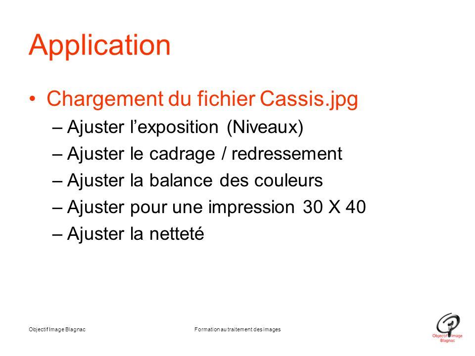 Objectif Image BlagnacFormation au traitement des images Application Chargement du fichier Cassis.jpg –Ajuster l'exposition (Niveaux) –Ajuster le cadr