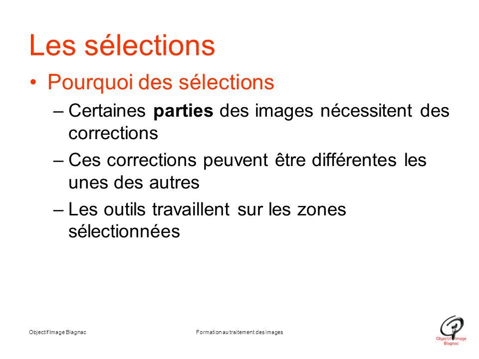 Objectif Image BlagnacFormation au traitement des images Les sélections Pourquoi des sélections –Certaines parties des images nécessitent des correcti