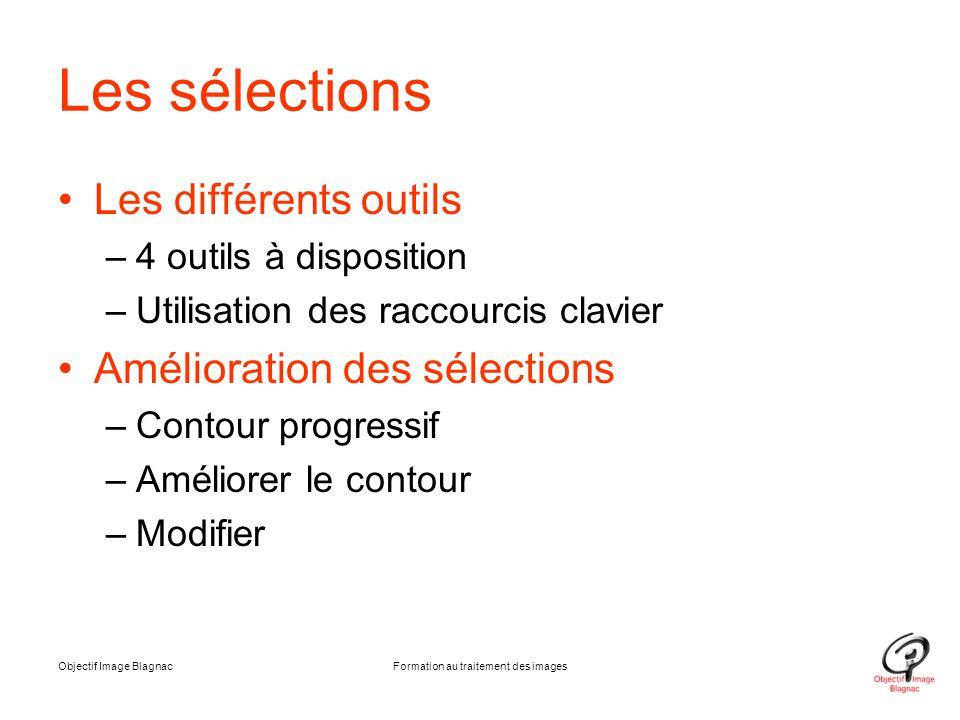 Les sélections Les différents outils –4 outils à disposition –Utilisation des raccourcis clavier Amélioration des sélections –Contour progressif –Amél