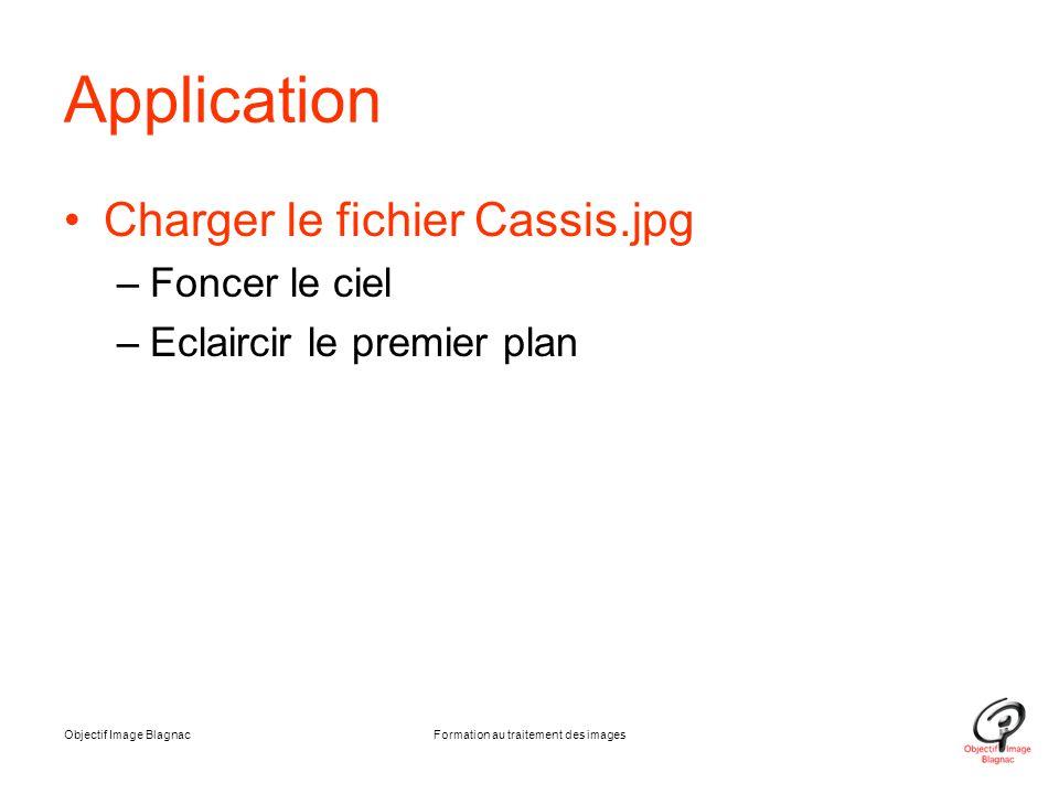 Application Charger le fichier Cassis.jpg –Foncer le ciel –Eclaircir le premier plan Objectif Image BlagnacFormation au traitement des images