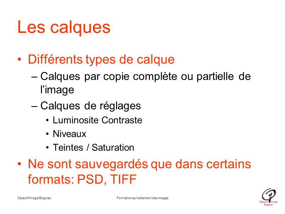 Les calques Différents types de calque –Calques par copie complète ou partielle de l'image –Calques de réglages Luminosite Contraste Niveaux Teintes /