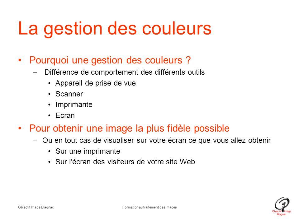 La gestion des couleurs Pourquoi une gestion des couleurs ? – Différence de comportement des différents outils Appareil de prise de vue Scanner Imprim