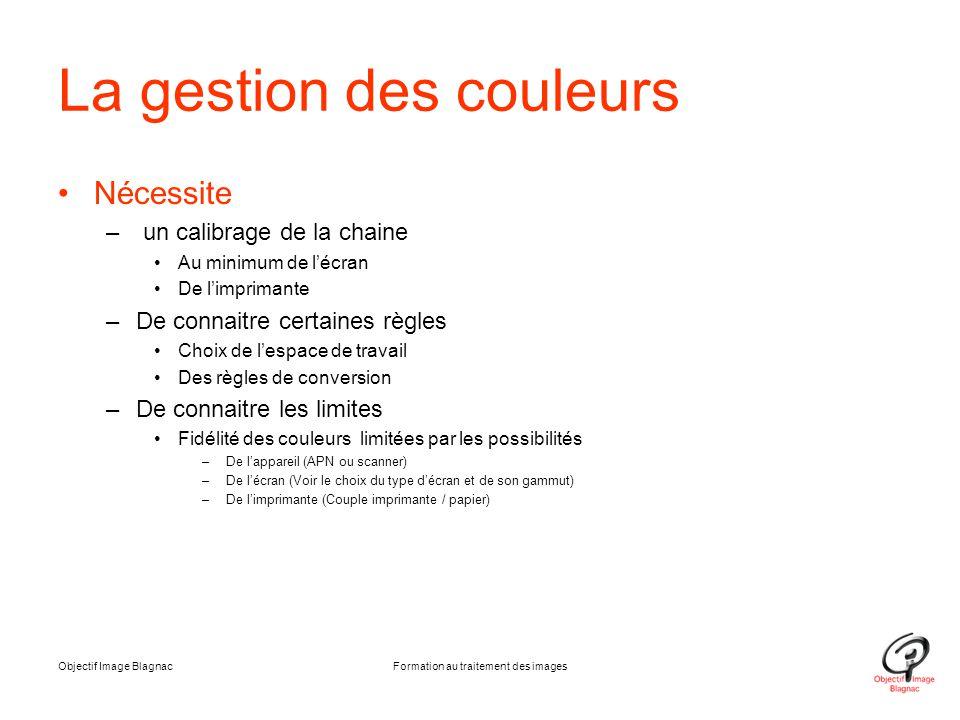 La gestion des couleurs Nécessite – un calibrage de la chaine Au minimum de l'écran De l'imprimante –De connaitre certaines règles Choix de l'espace d