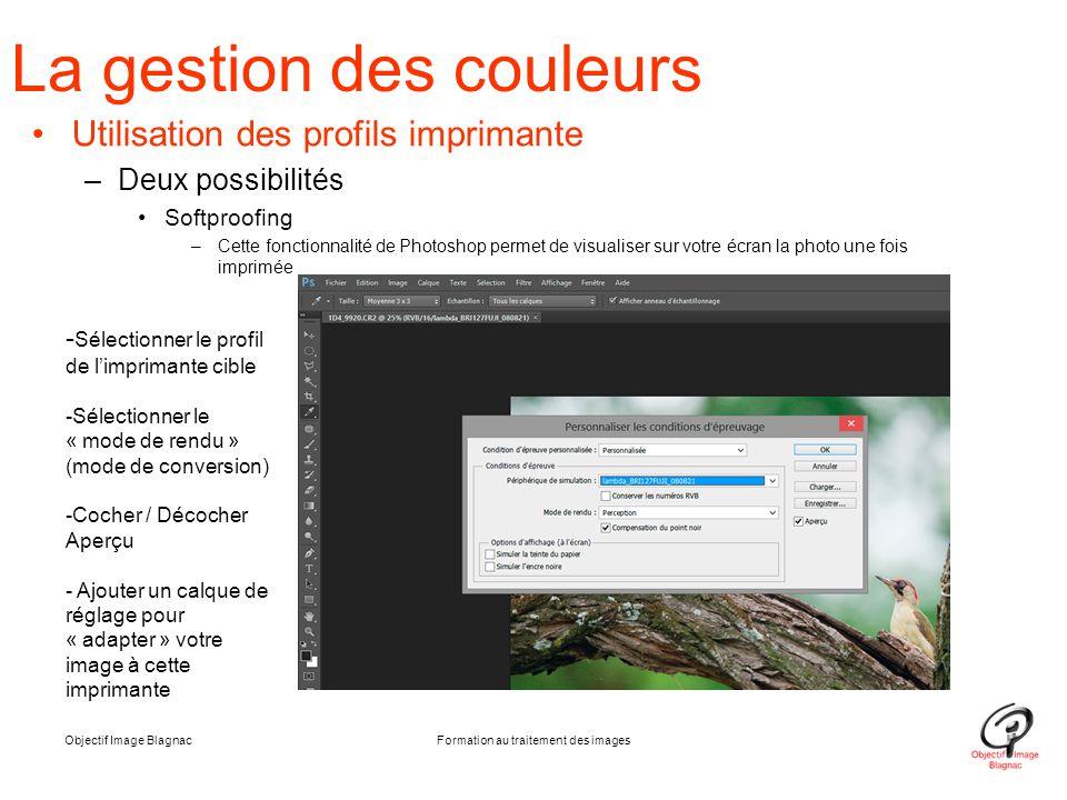 La gestion des couleurs Utilisation des profils imprimante –Deux possibilités Softproofing –Cette fonctionnalité de Photoshop permet de visualiser sur