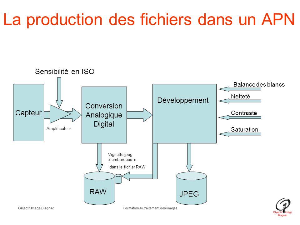 Objectif Image BlagnacFormation au traitement des images La production des fichiers dans un APN Capteur Conversion Analogique Digital Développement Se
