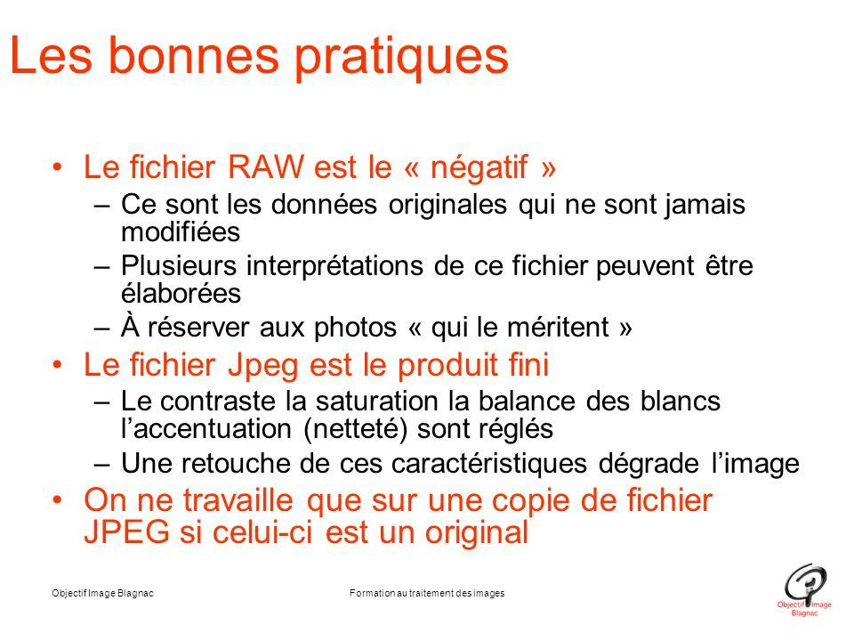 Objectif Image BlagnacFormation au traitement des images Les bonnes pratiques Le fichier RAW est le « négatif » –Ce sont les données originales qui ne