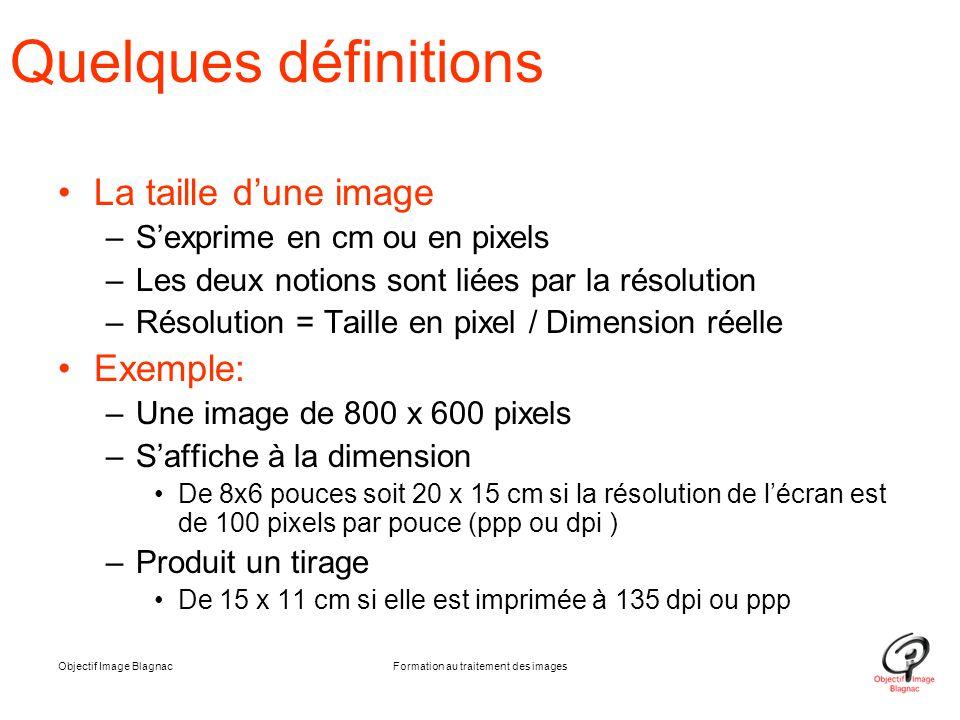 Objectif Image BlagnacFormation au traitement des images Quelques définitions La taille d'une image –S'exprime en cm ou en pixels –Les deux notions so