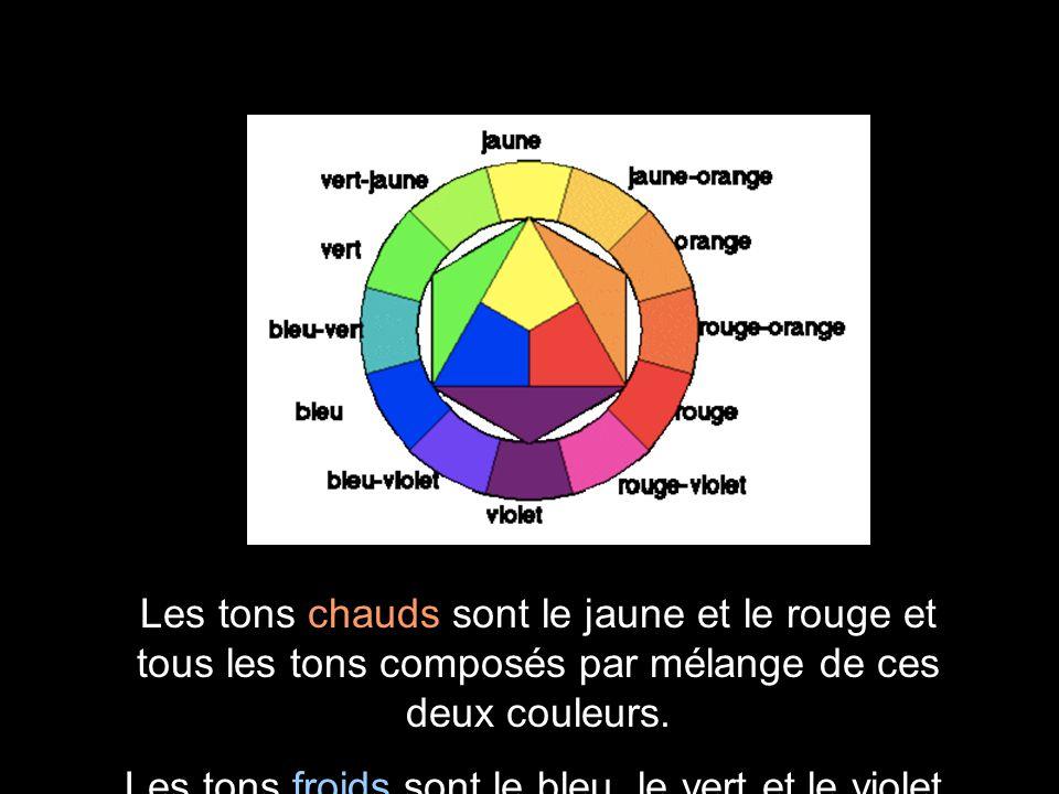 Les tons chauds sont le jaune et le rouge et tous les tons composés par mélange de ces deux couleurs. Les tons froids sont le bleu, le vert et le viol