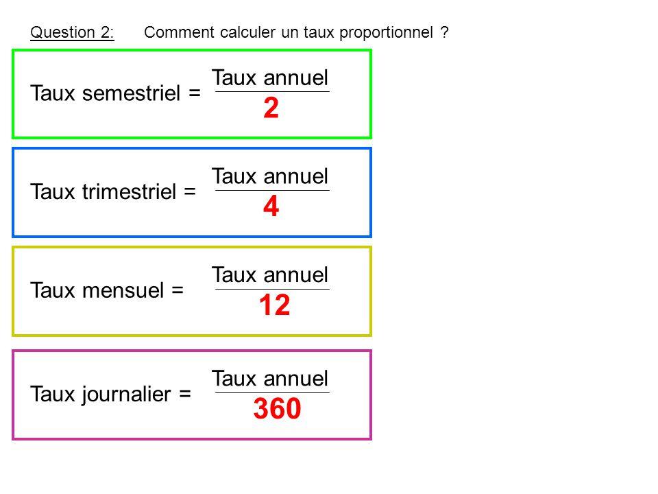 Question 2:Comment calculer un taux proportionnel ? 2 Taux semestriel = Taux annuel 4 Taux trimestriel = Taux annuel 12 Taux mensuel = Taux annuel Tau