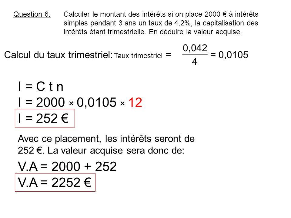 Question 6:Calculer le montant des intérêts si on place 2000 € à intérêts simples pendant 3 ans un taux de 4,2%, la capitalisation des intérêts étant trimestrielle.