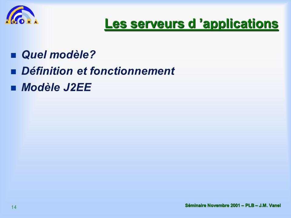 14 Séminaire Novembre 2001 – PLB – J.M. Vanel Les serveurs d 'applications n Quel modèle? n Définition et fonctionnement n Modèle J2EE