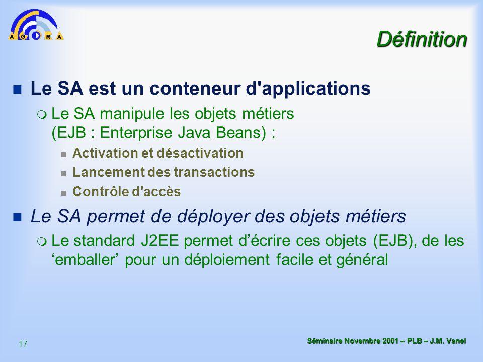 17 Séminaire Novembre 2001 – PLB – J.M. Vanel Définition n Le SA est un conteneur d'applications m Le SA manipule les objets métiers (EJB : Enterprise