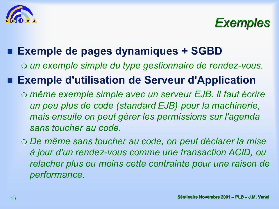 19 Séminaire Novembre 2001 – PLB – J.M. Vanel Exemples n Exemple de pages dynamiques + SGBD m un exemple simple du type gestionnaire de rendez-vous. n