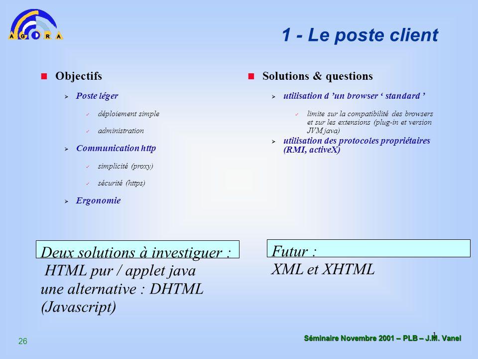 26 Séminaire Novembre 2001 – PLB – J.M. Vanel 1 1 - Le poste client Objectifs  Poste léger déploiement simple administration  Communication http sim