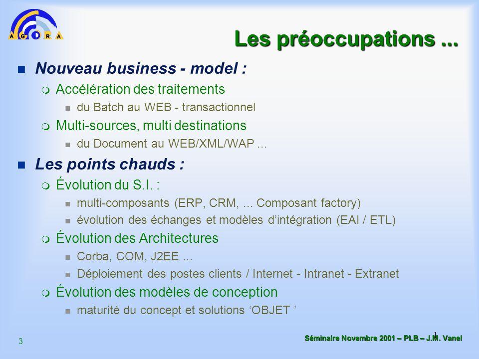 3 Séminaire Novembre 2001 – PLB – J.M. Vanel 1 Les préoccupations... n Nouveau business - model : m Accélération des traitements du Batch au WEB - tra