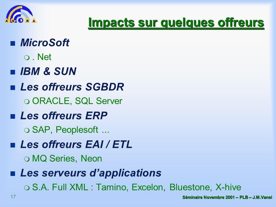 17 Séminaire Novembre 2001 – PLB – J.M.Vanel Impacts sur quelques offreurs n MicroSoft m. Net n IBM & SUN n Les offreurs SGBDR m ORACLE, SQL Server n