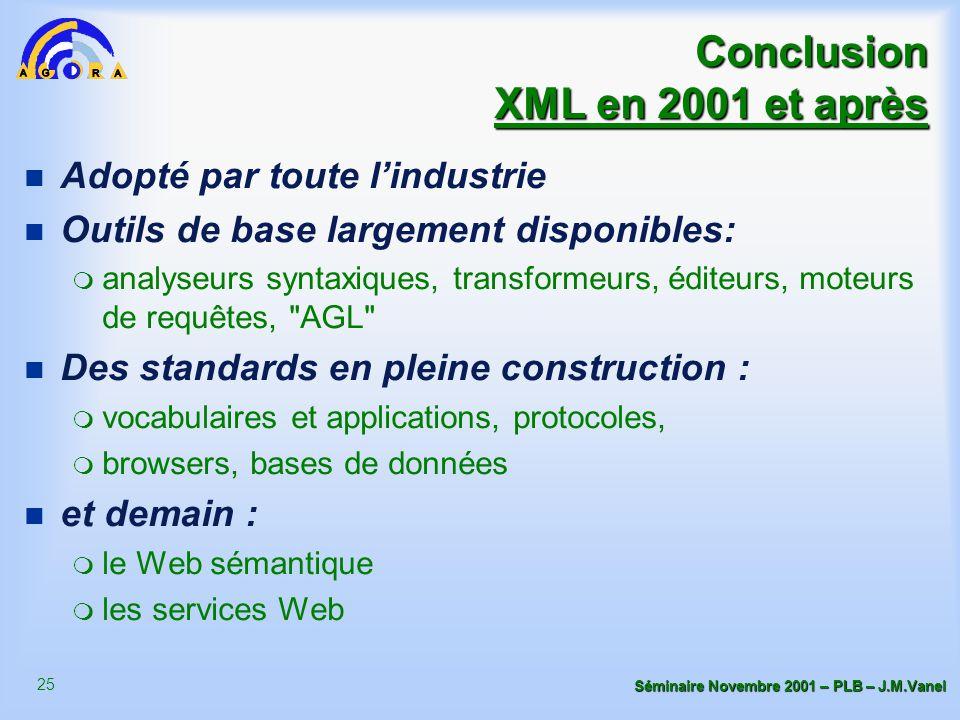 25 Séminaire Novembre 2001 – PLB – J.M.Vanel Conclusion XML en 2001 et après n Adopté par toute l'industrie n Outils de base largement disponibles: m