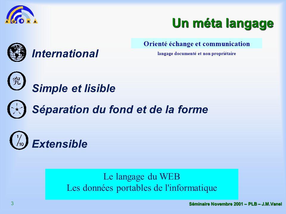 3 Séminaire Novembre 2001 – PLB – J.M.Vanel International Simple et lisible Séparation du fond et de la forme Extensible Orienté échange et communicat