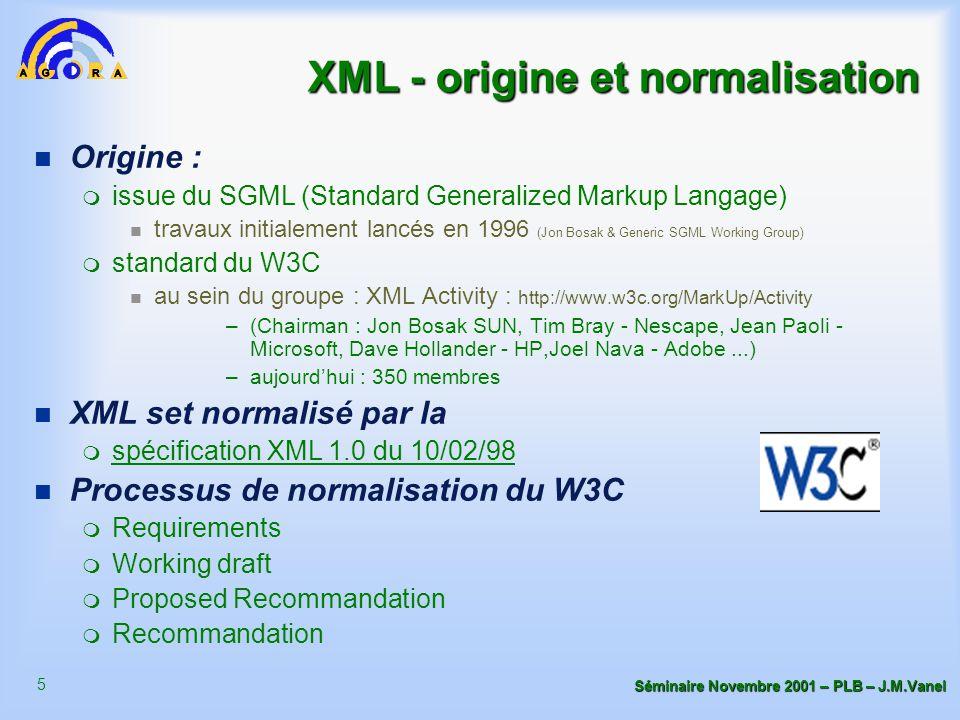 5 Séminaire Novembre 2001 – PLB – J.M.Vanel XML - origine et normalisation n Origine : m issue du SGML (Standard Generalized Markup Langage) travaux initialement lancés en 1996 (Jon Bosak & Generic SGML Working Group) m standard du W3C au sein du groupe : XML Activity : http://www.w3c.org/MarkUp/Activity –(Chairman : Jon Bosak SUN, Tim Bray - Nescape, Jean Paoli - Microsoft, Dave Hollander - HP,Joel Nava - Adobe...) –aujourd'hui : 350 membres n XML set normalisé par la m spécification XML 1.0 du 10/02/98 n Processus de normalisation du W3C m Requirements m Working draft m Proposed Recommandation m Recommandation