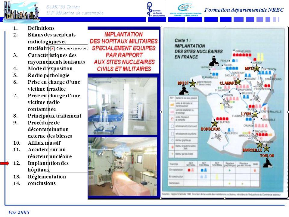 SAMU 83 Toulon U.F. Médecine de catastrophe Formation départementale NRBC Var 2005 1.Définitions 2.Bilans des accidents radiologiques et nucléaire 3.C