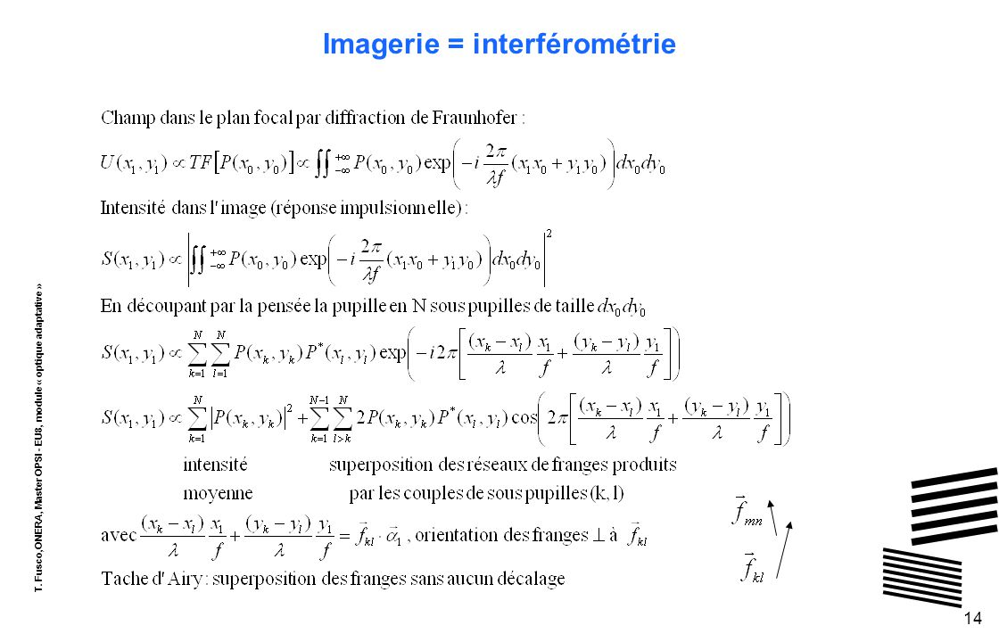 T. Fusco,ONERA, Master OPSI - EU8, module « optique adaptative » 14 Imagerie = interférométrie