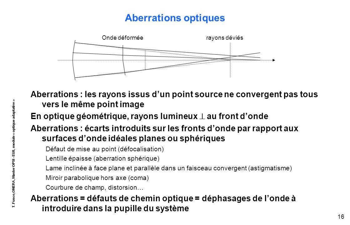 T. Fusco,ONERA, Master OPSI - EU8, module « optique adaptative » 16 Aberrations optiques Aberrations : les rayons issus d'un point source ne convergen