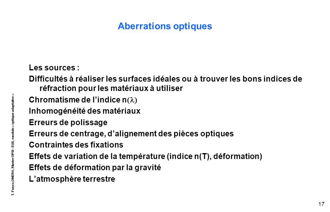 T. Fusco,ONERA, Master OPSI - EU8, module « optique adaptative » 17 Aberrations optiques Les sources : Difficultés à réaliser les surfaces idéales ou