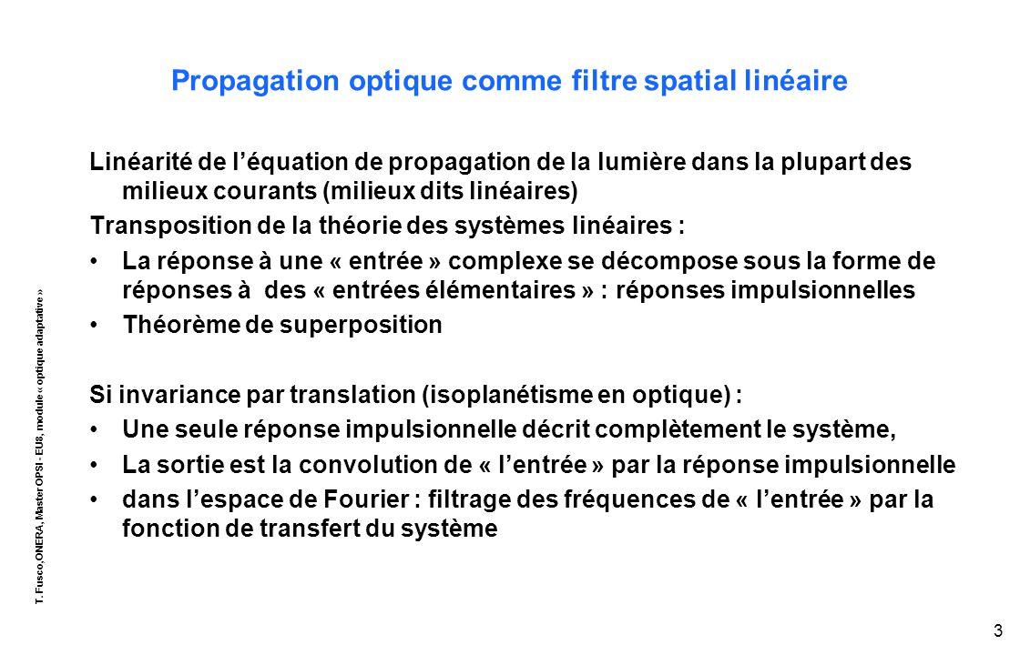 T. Fusco,ONERA, Master OPSI - EU8, module « optique adaptative » 3 Propagation optique comme filtre spatial linéaire Linéarité de l'équation de propag