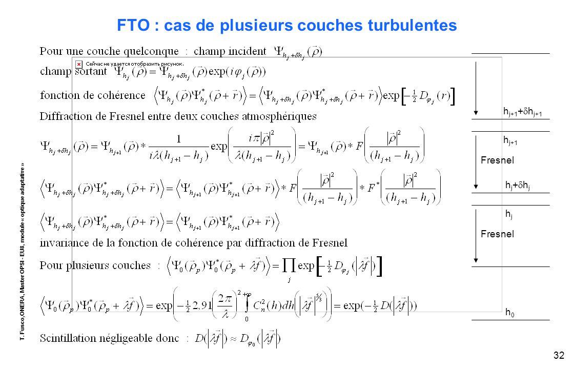 T. Fusco,ONERA, Master OPSI - EU8, module « optique adaptative » 32 FTO : cas de plusieurs couches turbulentes h j+1 +  h j+1 h j+1 hj+hjhj+hj hjhj