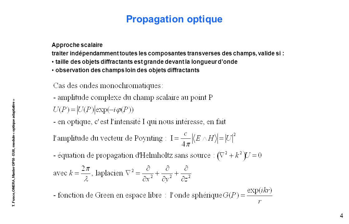 T. Fusco,ONERA, Master OPSI - EU8, module « optique adaptative » 4 Propagation optique Approche scalaire traiter indépendamment toutes les composantes