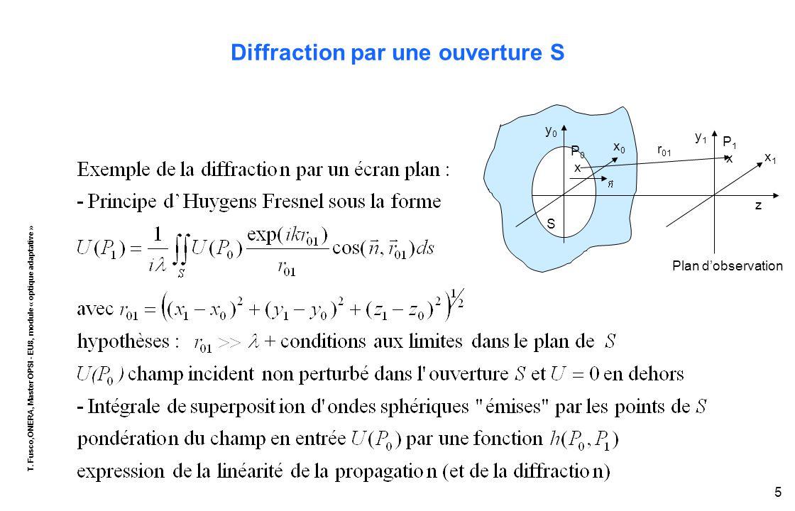 T. Fusco,ONERA, Master OPSI - EU8, module « optique adaptative » 5 Diffraction par une ouverture S r 01 P1xP1x x1x1 z P 0 x y0y0 x0x0 y1y1 S Plan d'ob