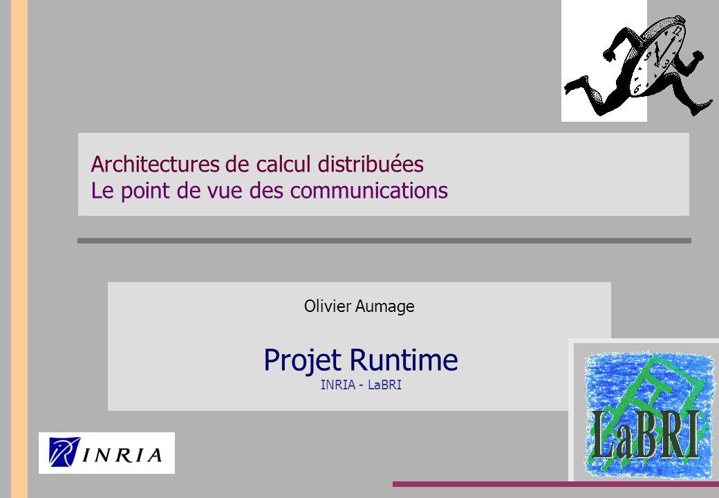 Le calcul hautes performances distribué Objectif Dépasser le rythme d'évolution de la puissance des machines de calcul Techniques Matérielles Multiplication des unités de traitement Logicielles Environnements de programmation distribuée Introduction