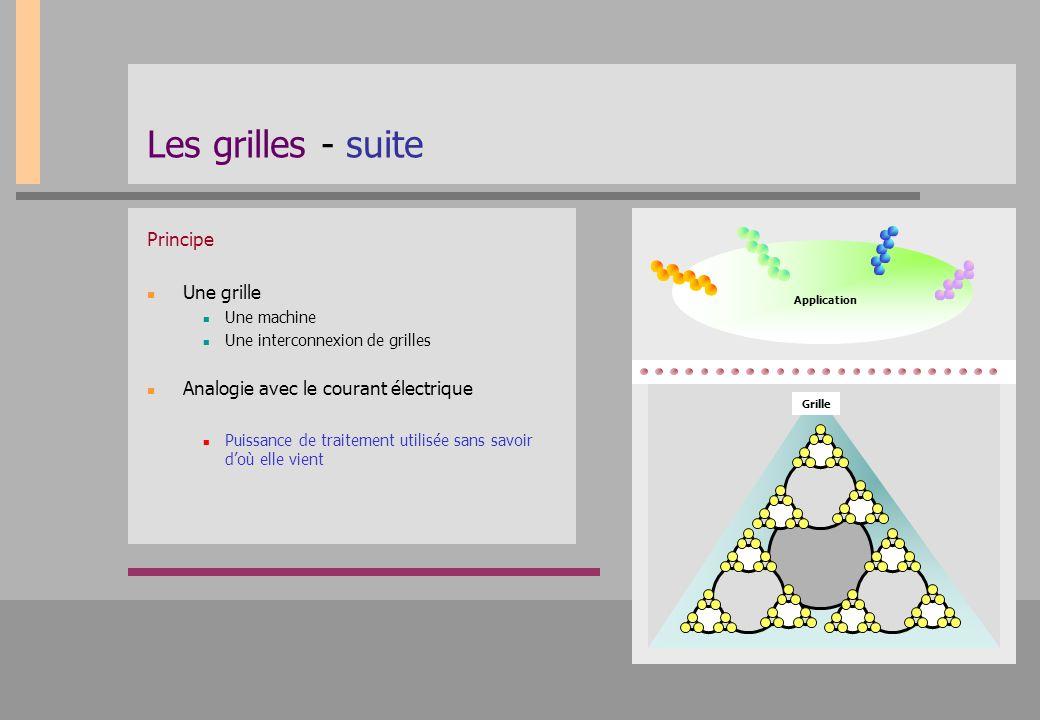 Les grilles - suite Principe Une grille Une machine Une interconnexion de grilles Analogie avec le courant électrique Puissance de traitement utilisée
