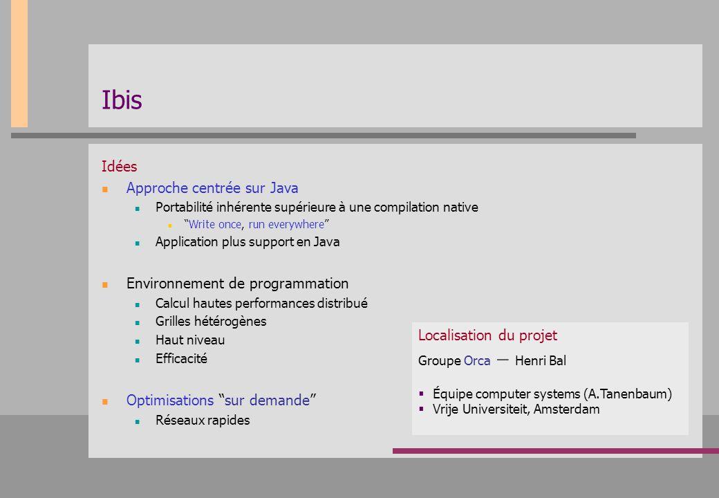 """Ibis Idées Approche centrée sur Java Portabilité inhérente supérieure à une compilation native """"Write once, run everywhere"""" Application plus support e"""