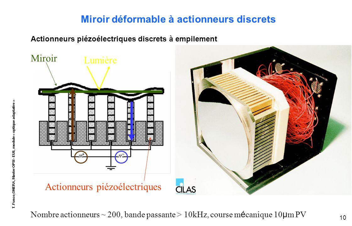 T. Fusco,ONERA, Master OPSI - EU8, module « optique adaptative » 10 Miroir déformable à actionneurs discrets Actionneurs piézoélectriques discrets à e