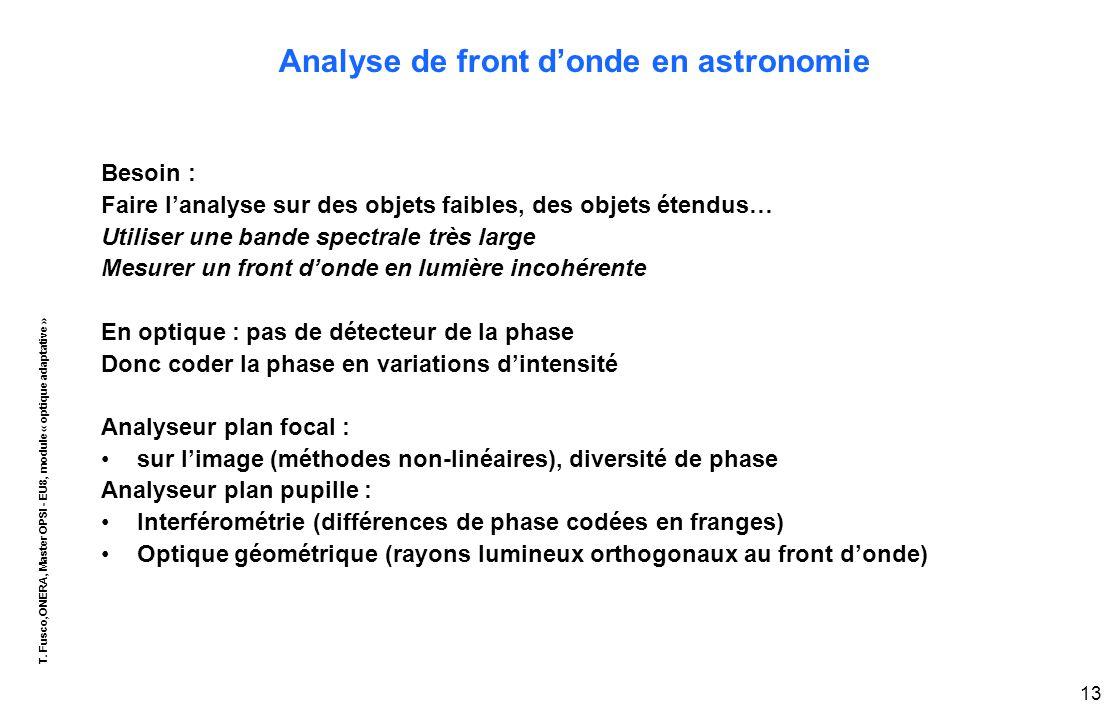 T. Fusco,ONERA, Master OPSI - EU8, module « optique adaptative » 13 Analyse de front d'onde en astronomie Besoin : Faire l'analyse sur des objets faib