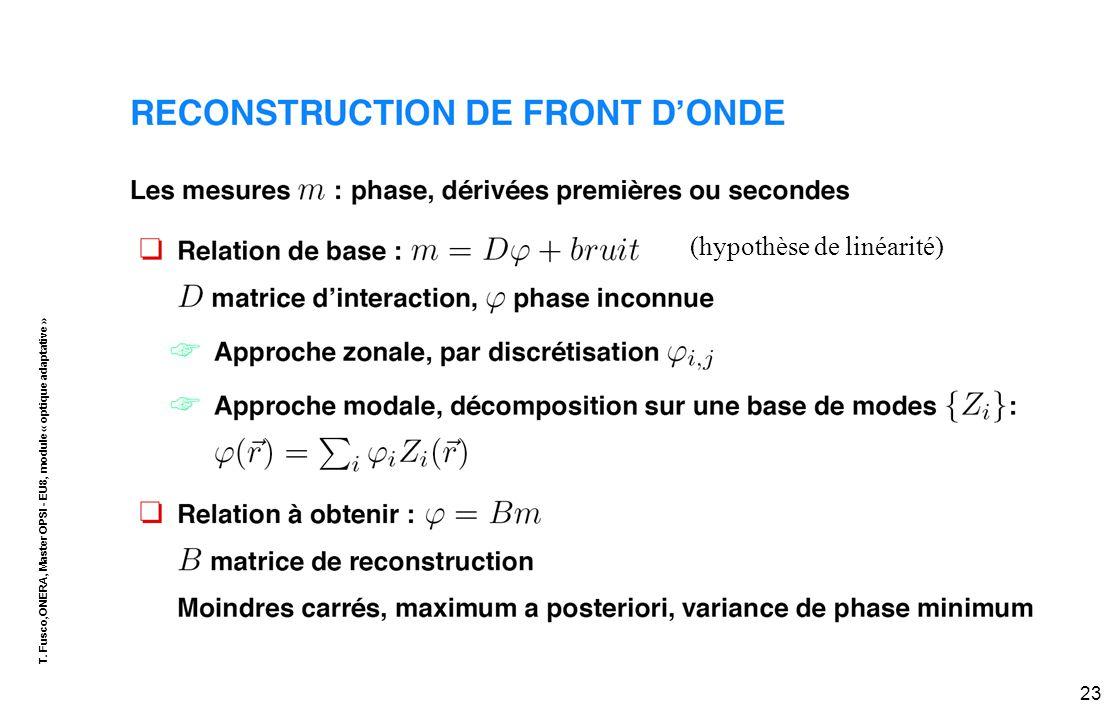 T. Fusco,ONERA, Master OPSI - EU8, module « optique adaptative » 23 (hypothèse de linéarité)