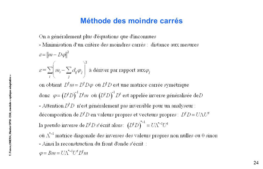 T. Fusco,ONERA, Master OPSI - EU8, module « optique adaptative » 24 Méthode des moindre carrés