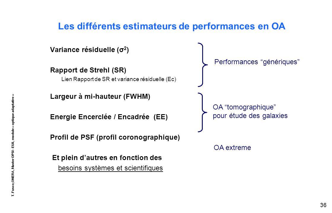 T. Fusco,ONERA, Master OPSI - EU8, module « optique adaptative » 36 Les différents estimateurs de performances en OA Variance résiduelle (σ 2 ) Rappor