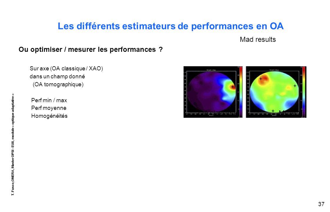 T. Fusco,ONERA, Master OPSI - EU8, module « optique adaptative » 37 Les différents estimateurs de performances en OA Ou optimiser / mesurer les perfor