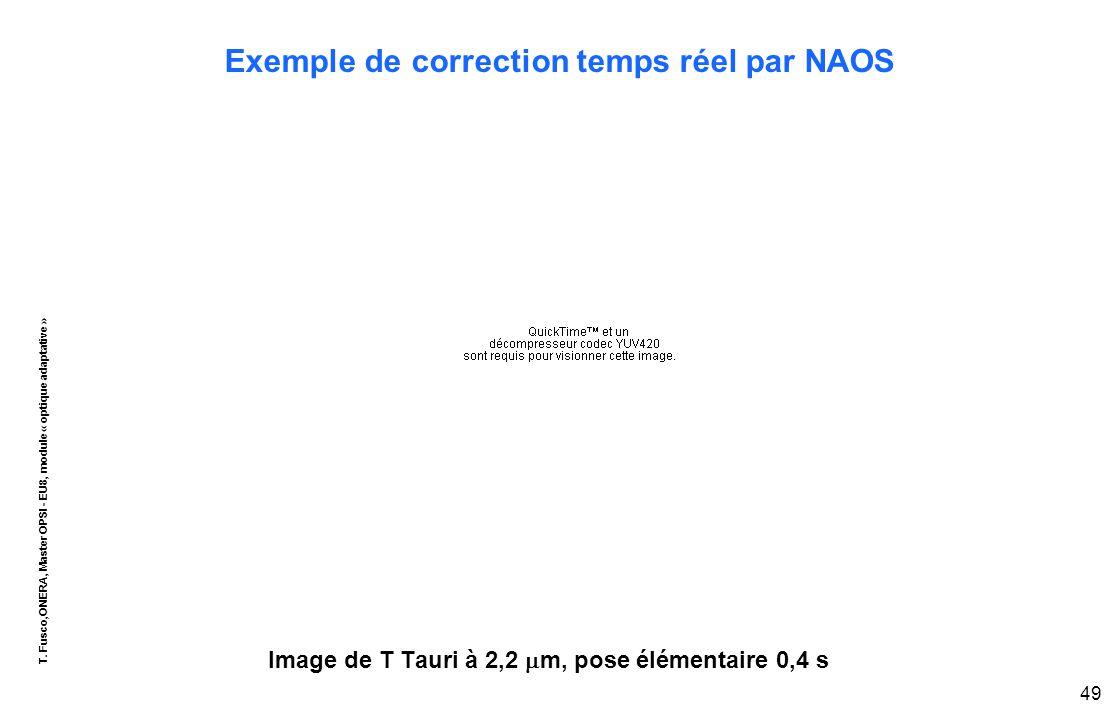 T. Fusco,ONERA, Master OPSI - EU8, module « optique adaptative » 49 Exemple de correction temps réel par NAOS Image de T Tauri à 2,2  m, pose élément