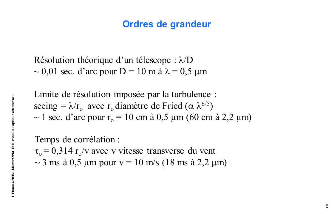 T. Fusco,ONERA, Master OPSI - EU8, module « optique adaptative » 5 Ordres de grandeur Temps de corrélation :  o = 0,314 r o /v avec v vitesse transve
