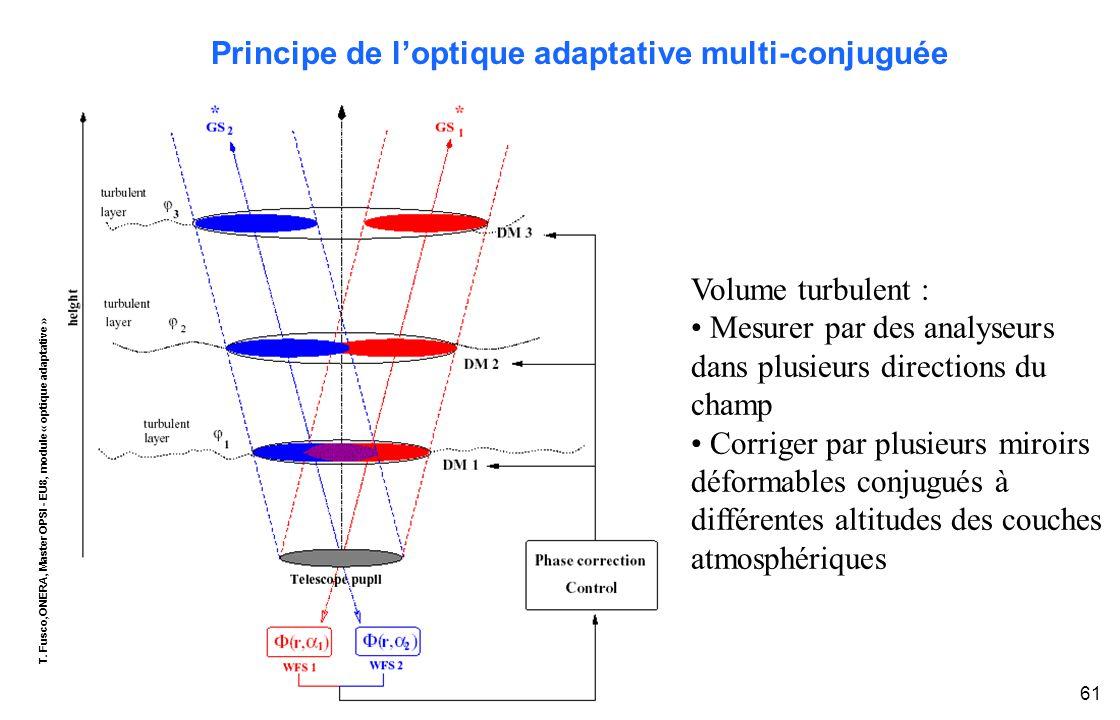 T. Fusco,ONERA, Master OPSI - EU8, module « optique adaptative » 61 Volume turbulent : Mesurer par des analyseurs dans plusieurs directions du champ C