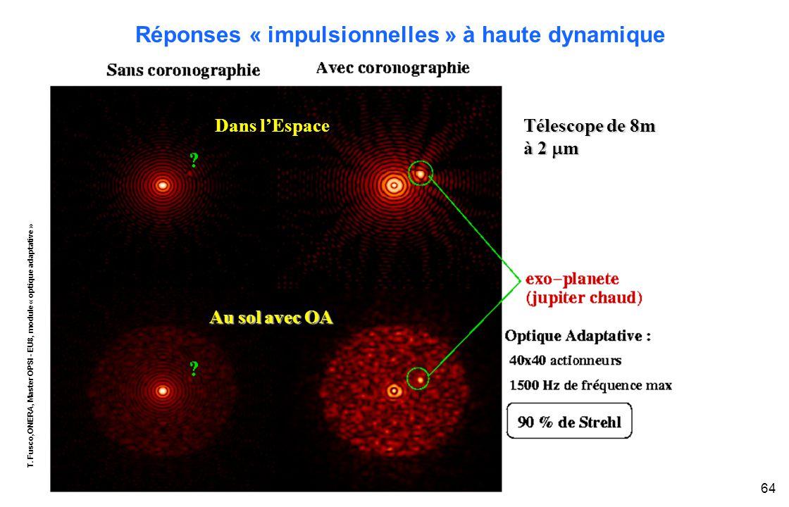 T. Fusco,ONERA, Master OPSI - EU8, module « optique adaptative » 64 Réponses « impulsionnelles » à haute dynamique Télescope de 8m à 2  m Au sol avec