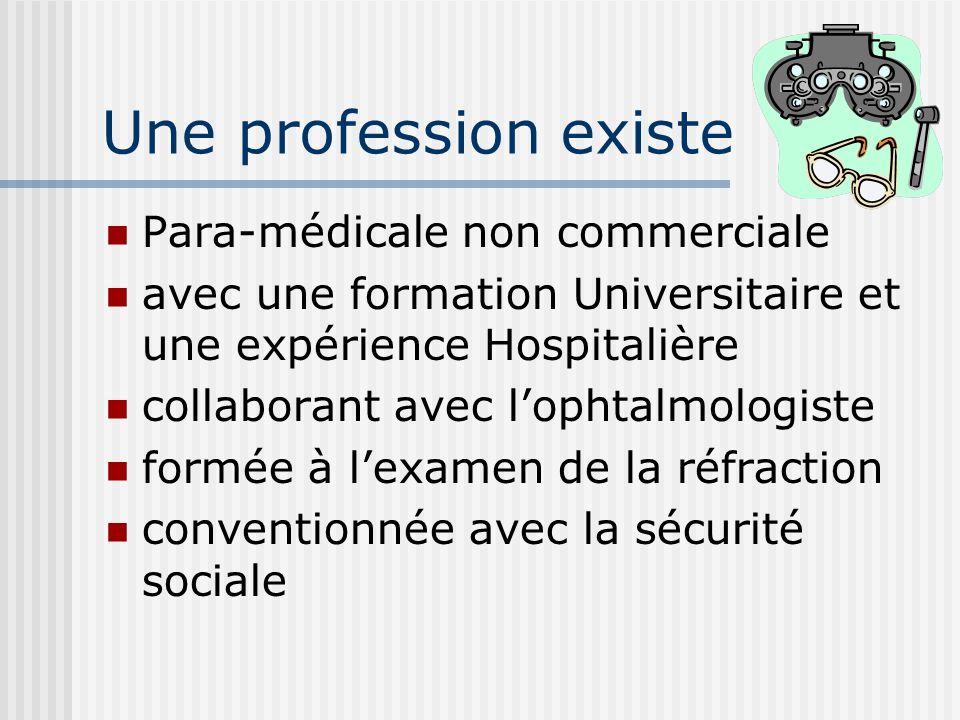 Une profession existe Para-médicale non commerciale avec une formation Universitaire et une expérience Hospitalière collaborant avec l'ophtalmologiste