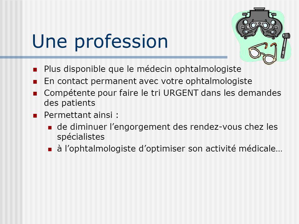 Une profession Plus disponible que le médecin ophtalmologiste En contact permanent avec votre ophtalmologiste Compétente pour faire le tri URGENT dans